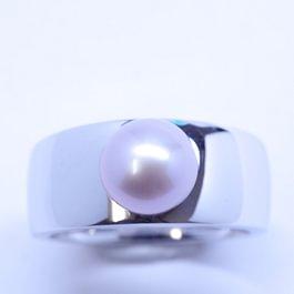 Bague en or blanc écologique et perle d'eau douce, création Graines d'étoile.