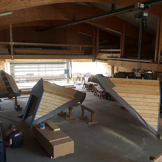 Lucarne préfabriquée en atelier pour la commune de Fiez