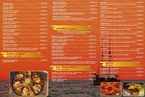 carte de pizzas