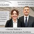 Obtention du brevet fédéral d'entrepreneur de pompes funèbres par Marina Roueche et Jérôme Voisard
