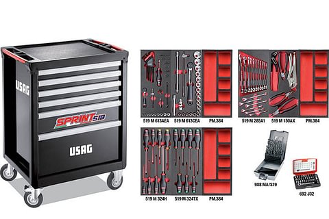 USAG Chariot à outils SPRINTER avec gamme de maintenance 3 tiroirs (156 pièces)