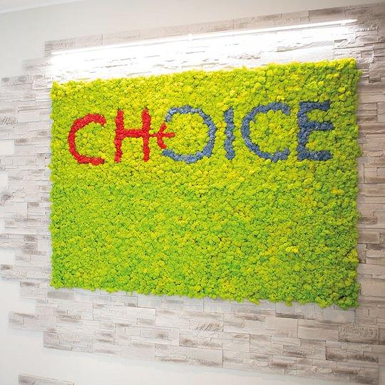 Il benvenuto di Choice, la nostra parete in moss wall e la comoda reception, dotata di ogni comfort, vi attendono.