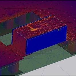 Elektrisch kleine Antenne im EM-Simulator mit visualisierten Oberflächenströmen