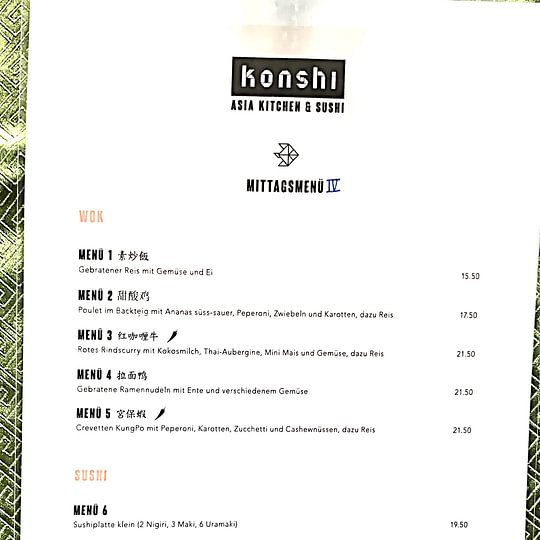 Mittags Menü