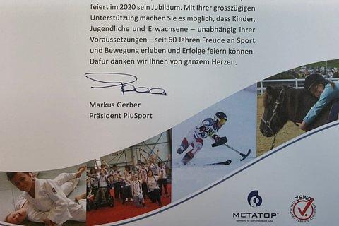 60 Jahre PluSport Behindertensport Schweiz - mit unserer Unterstützung!