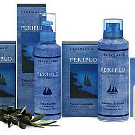 Periplo: Una linea completa di prodotti per l'uomo caratterizzati dal Timo bianco e dall'Alloro. Ideale per una rasatura facile e delicata. Questa linea purifica l'epidermide senza seccarla.