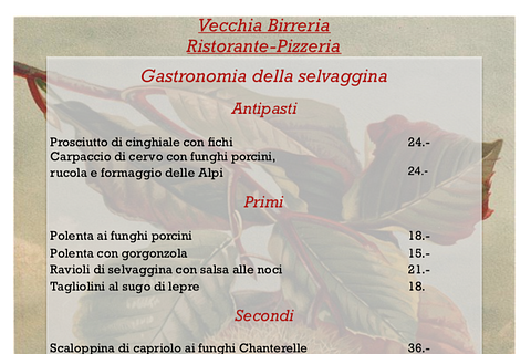 menu di selvaggina