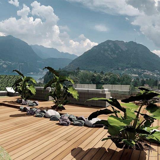 LUGANO ampio ATTICO 3,5 loc. di 160 mq, perfetto, con roofgarden di 169 mq e balcone CHF 1'260'000.--