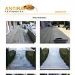 """Photos """"avant-après"""" d'un traitement de remise en état d'une terrasse en grès et calcaire."""