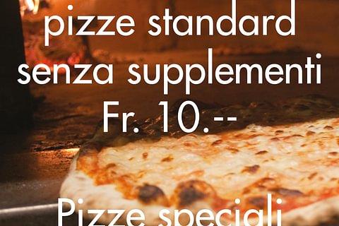 Tutti i mercoledì tutte le pizze standard senza supplementi a Fr. 10.--