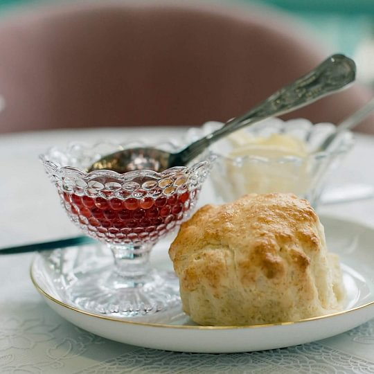 English Scone with Clotted Cream and Homemade Strawberry Jam