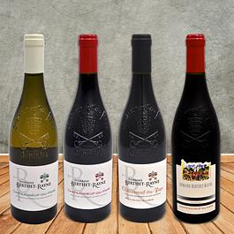 Unsere Klassiker aus dem Vallèe du Rhône; Châteauneuf-du-Pape Blanc, Tradition, Barrique und Cuvée Cadiac
