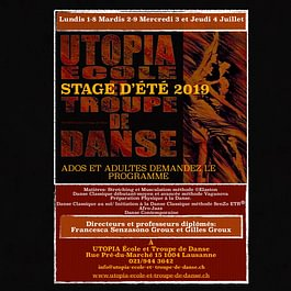 Stage UTOPIA 2019, du 1er au 9 juillet 2019 à Lausanne