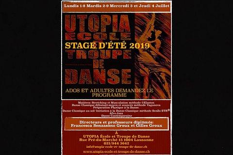 Stage UTOPIA 2019 du 1er au 9 juillet 2019 à Lausanne