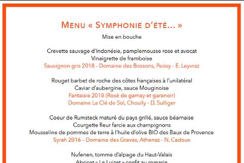 """Le Menu """" SYMPHONIE D'ETE ... """""""