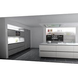 EDU-Ausstellungsküche: Grifflose Küche Mattlack und Steinfurnier