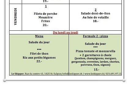 4 menus du jour à choix