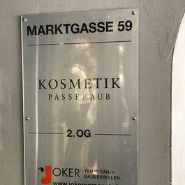 Anschrift Kosmetik Passeraub beim Eingang Markgasse 59