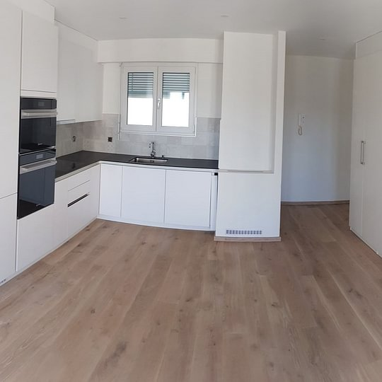 Rénovation - transformation totale d'un appartement 3 pièces à Lausanne - nouvel espace entrée/cuisine sur séjour