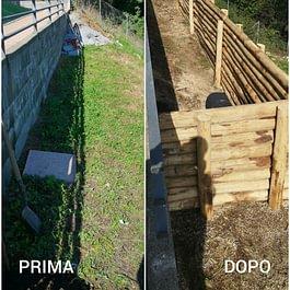 Creazione muro di contenimento con pali di castagno e riempimento terra - Giardini ArteVerde Sagl