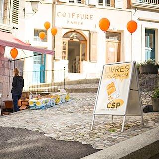 Librairie, Boutique du CSP Vaud, à côté de la Palud à Lausanne © Photo Laetitia Gessler