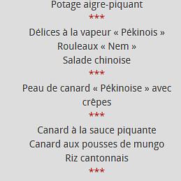 menu pékinois
