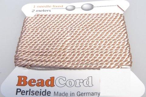 Perlenfaden rose zum knüpfen mit Nadel 1.05mm SEIDE 1.8m