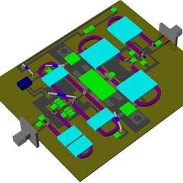 3D Layout von Microwave Office Simulation, VHF- / UHF-Verstärker, MWO, VSS