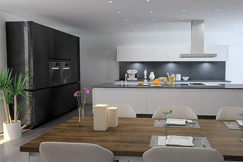Ausstellungsküche: Küchenkunst allmilmö MA la Cura mit markanter Front