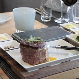 Steak auf dem heissen Stein