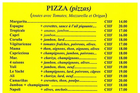 La carte des Pizza