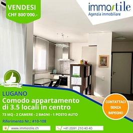 Vendesi in centro a Lugano comodo appartamento di 3.5 locali con posto auto