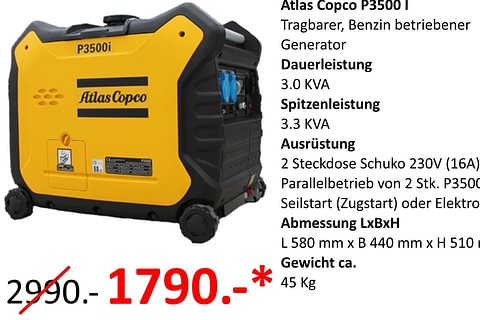 Atlas Copco P3500i Stromgenerator - Inverter
